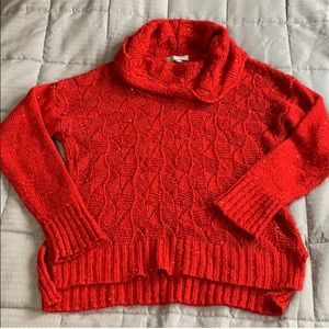 NY Collection Red Sequin Open Knit Sweater Sz Lg